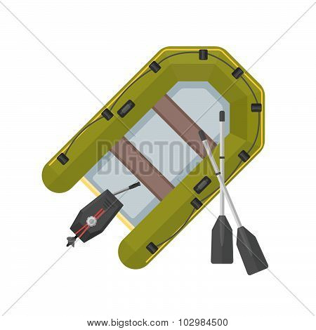 Vector Flat Style Inflatable Boat Illustration.