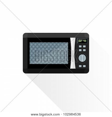 Vector Flat Style Black Microwave Oven Illustration.
