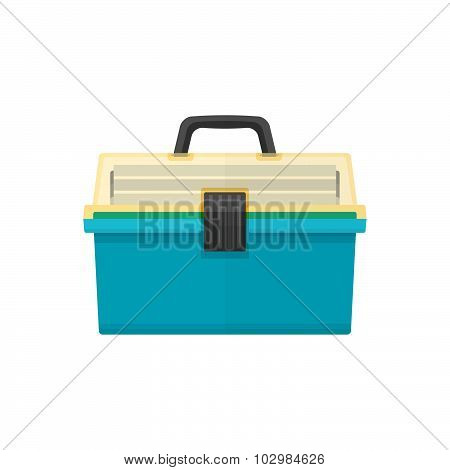 Vector Flat Style Fishing Tackle Box Illustration.