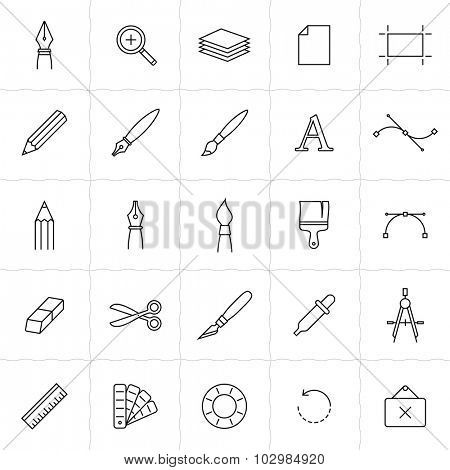 Designer tools icon set. Vector icons of drawing and painting tools. Simple outlined icons. Linear style