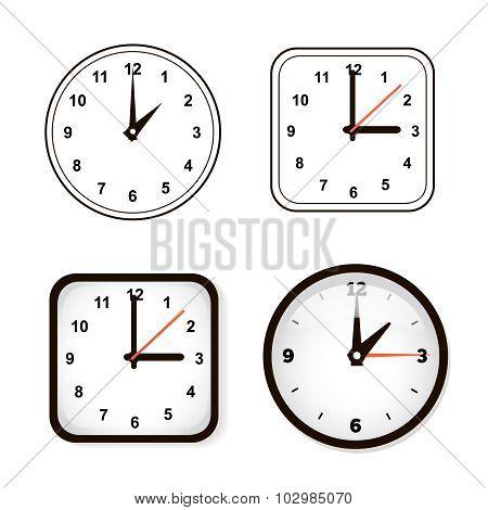 Set of wall clock. Watch and circle