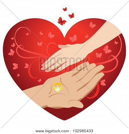 Male And Female Hand On A Background Of Hearts. Vector Illustration.