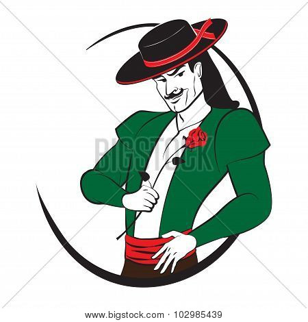 Spanish Man With A Rose. Abstract Vector Logo.