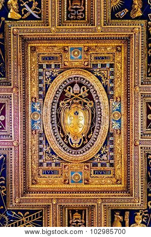 Rome, Italy - October 30: Ceiling Of Archbasilica Of St. John Lateran In Rome, Italy On October 30,