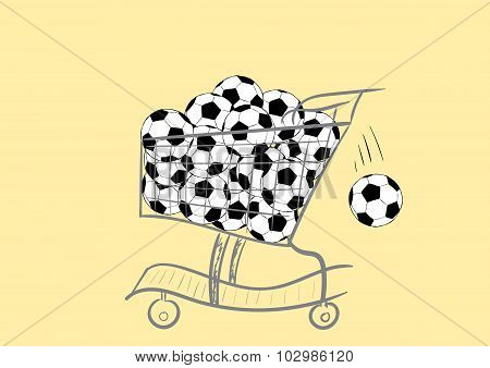 The cart with soccer balls