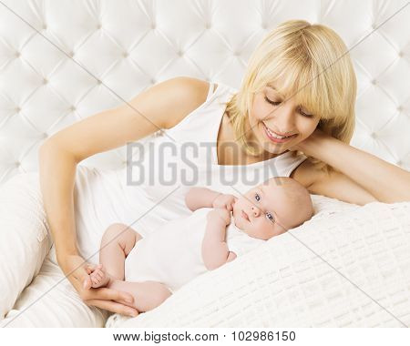 Mother And Baby Newborn, Lying New Born In Bodysuit, Mom Kid On White