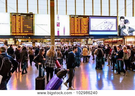 Rome, Italy - October 30: Crowd At The Main Railway Station, Termini, In Rome, Italy On October 30,