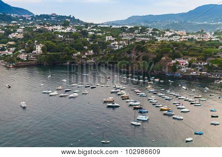 Ischia Porto, Coastal Landscape With Moored Boats