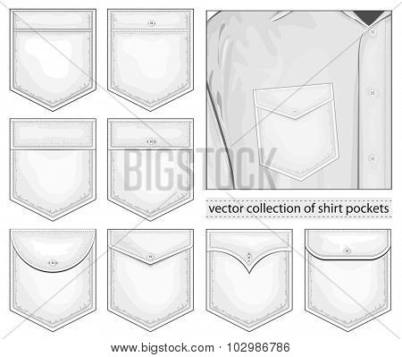 Collection of pockets. Vector illustration