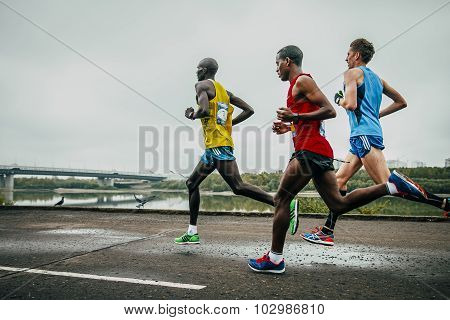 three leaders of the marathon running