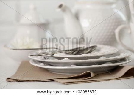 Clean dishes closeup