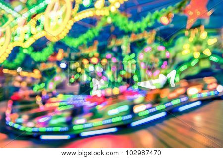 Blurred Defocused Lights At Luna Park Carousel Roundabout - German Christmas Market At Alexander Pla