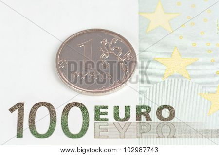 100 Euro Bancknote With One Rouble