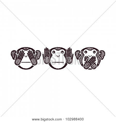 Wise monkeys. Grunge style. Vector illustration.