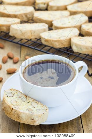Traditional Italian Homemade Biscotti With Almond And Cup Of Coffee
