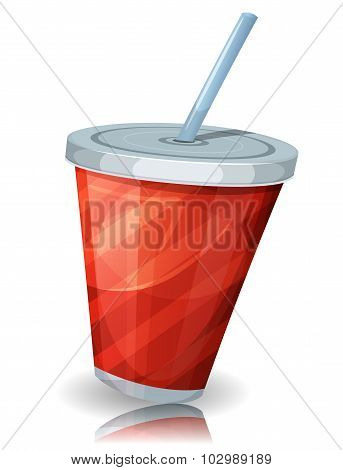 Fast Food Cup Of Soda With Straw