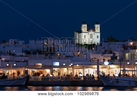 Paros, Greece 8 August 2015. Naoussa in Paros in Greece landscape at night. A beautiful and graphic