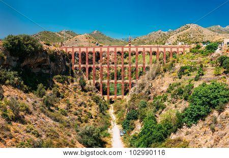 Puente del Aguila or Eagle Bridge in Nerja, Malaga, Spain