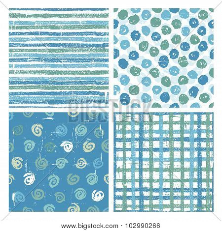 Set Of Four Seamless Patterns In Blue