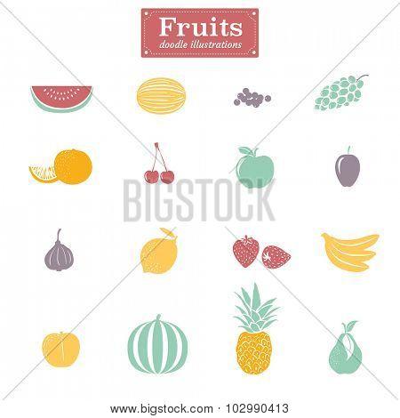 Set of flat design fruit illustrations