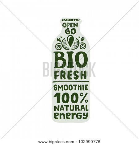 Natural bio energy drink - smoothie packaging template