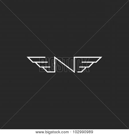 N Logo Wings Letter Monogram, Black And White Mockup Graphic Design Element Technology Emblem
