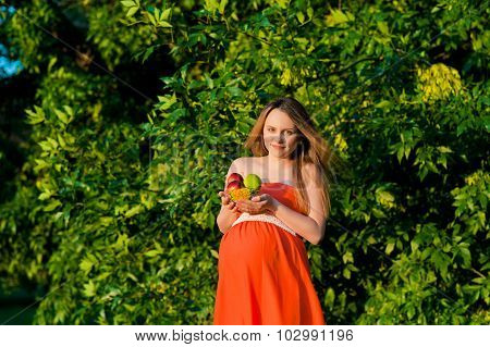 Pregnant Woman Holding Fruits In Hands