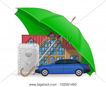 Insurance Concept Protected Umbrella Vector Illustration