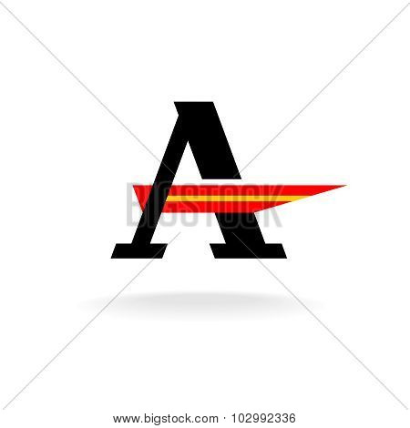 Letter A Logo Template With Serifs And Red Wing Crossbar