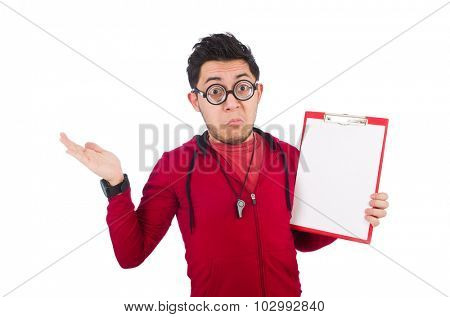 Funny coach with whistle and diary isolated on white