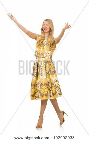 Young woman wearing long summer dress isolated on white