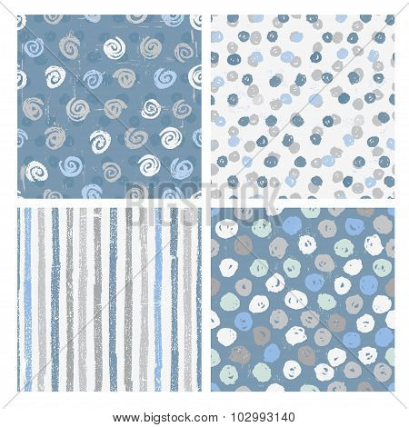 Set Of Seamless Patterns In Blue