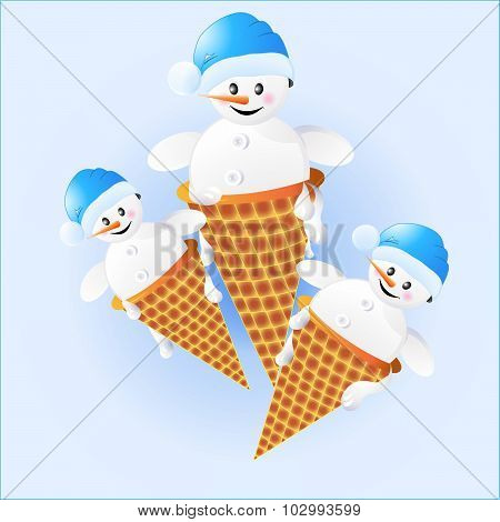 Snowmen In Ice Cream.