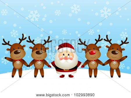 Cute Santa with funny deers