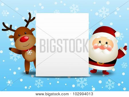 Funny Santa and deer with empty paper sheet