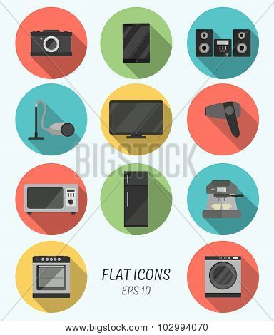 Collection modern flat icons with long shadow effect for design