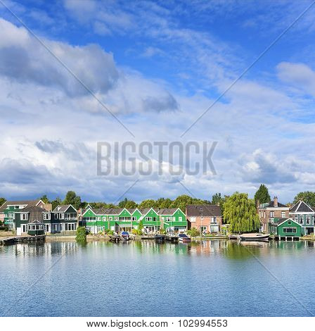 Tranquil scene. Zaanse Schans. Amazing Dutch village.