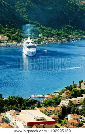 Aerial view of Bay of Kotor Montenegro.
