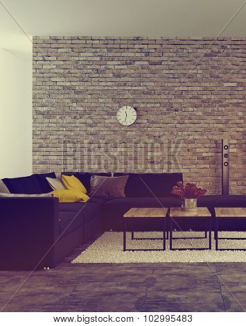 Modern living room interior with accent brick wall and an upholstered corner lounge suite in front of windows with scattered cushions on the sofa and flowers on the coffee table. 3d Rendering.