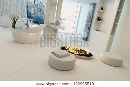 Cozy bathroom interior in winter with a modern circular fire burning in the center of the room alongside a freestanding bathtub with a view of a snowy garden through large windows. 3d Rendering.
