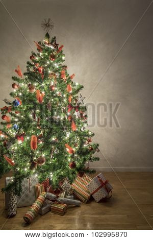 Beautiful illuminated christmas tree in a living room