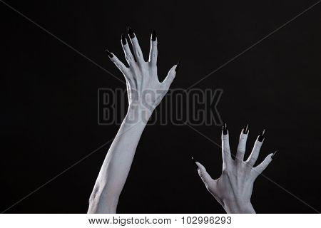 Pale ghost or witch hands with sharp black nails, Halloween theme