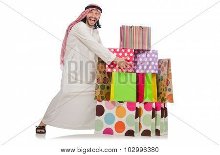 Arab man with shopping bags