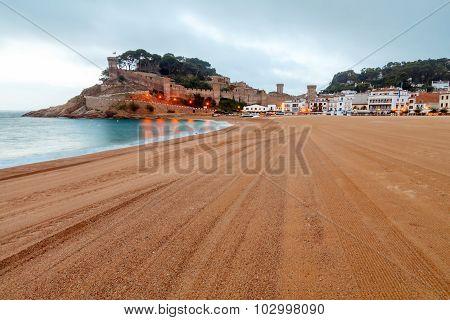 Tossa de Mar. City beach in the morning.