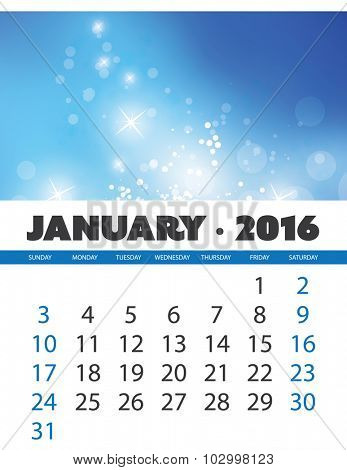 Monthly Calendar: January 2016 Template with Colorful Abstract Background. Vector Illustration.