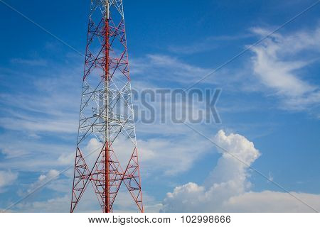 Telecommunication Tower And Cloudy  Sky With Copyspace On The Right