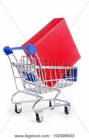 trolley with gift box isolated on hite
