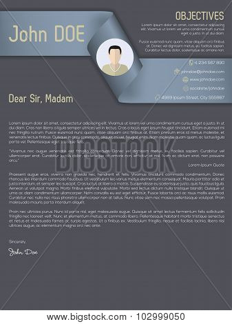 Modern Cover Letter Cv Resume With Ribbon Header