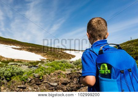 Boy On Trip In Nature