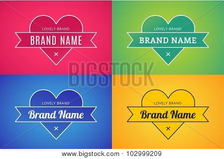 Heart icon vector logo brand concept bundle set